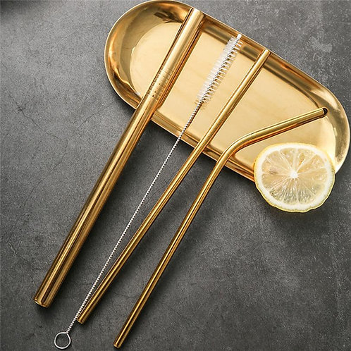 Gold Stainless Steel Drinking Straws + 1 Cleaner Brush & Pouch