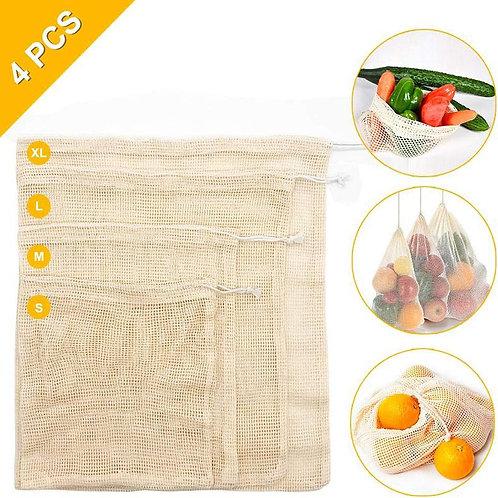 4pcs Reausable Ecological Bags Set for Fruits/Vegetables
