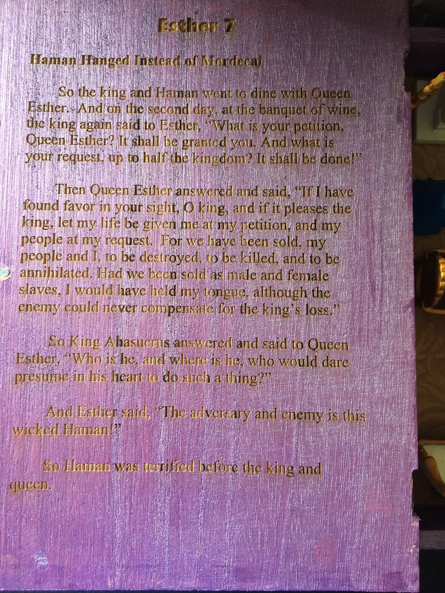 The Book of Esther Inside Cover