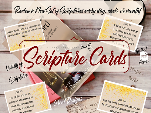 Scripture Cards ( Gold, Greenwood, Lined Collection)