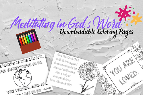 Meditating in God's Word Coloring Pages