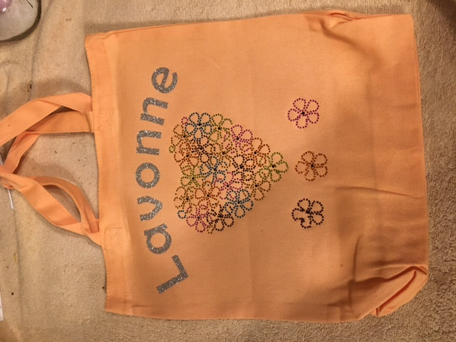 Glitter Heart Orange Canvas Tote Bag