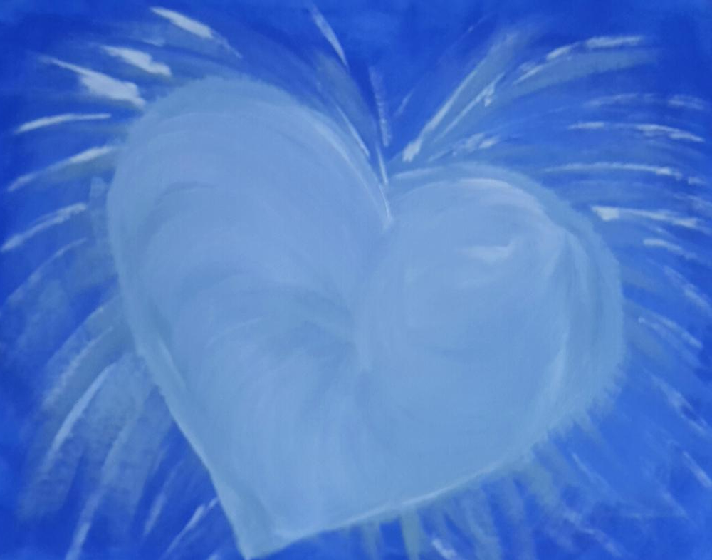 "A light-blue heart painted on a slightly darker blue background; titled ""Light-hearted"", by Mary-Claire Hanlon, acrylic on canvas"