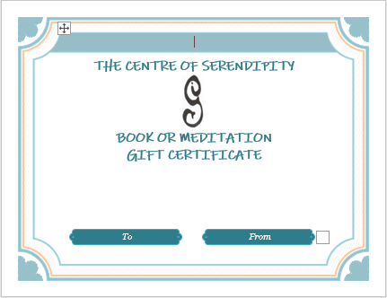 Book and Meditation Gift Certificate