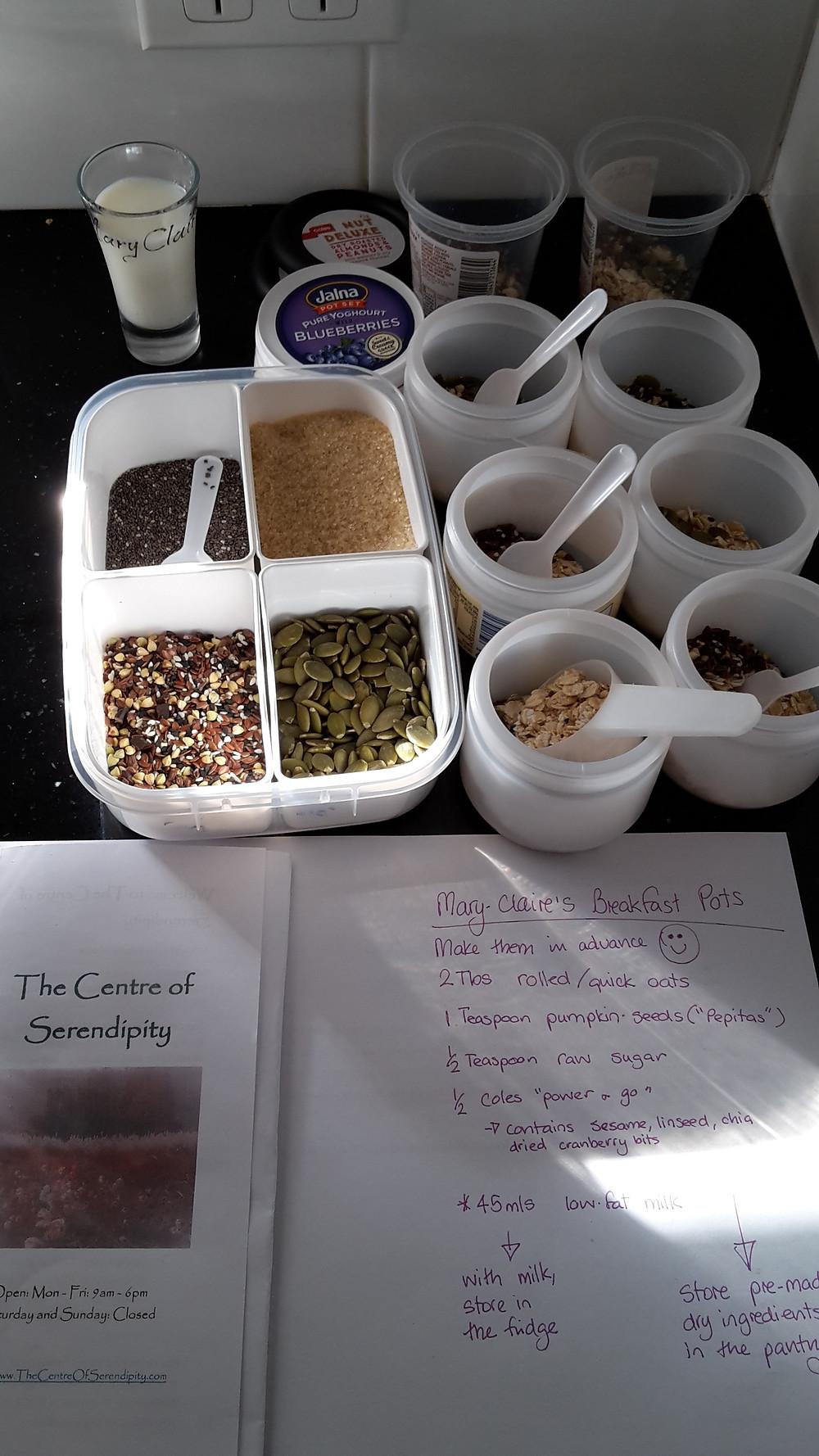 Breakfast posts ingredients - 2tbs oats, 1/2 teaspoon each of - raw sugar, Linseeds, Sunflower or Pumpkin seeds, and 45mls Milk