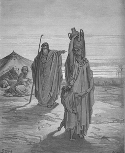 Black and white monograph of a woman and her infant son being banished into the wilderness by an old man