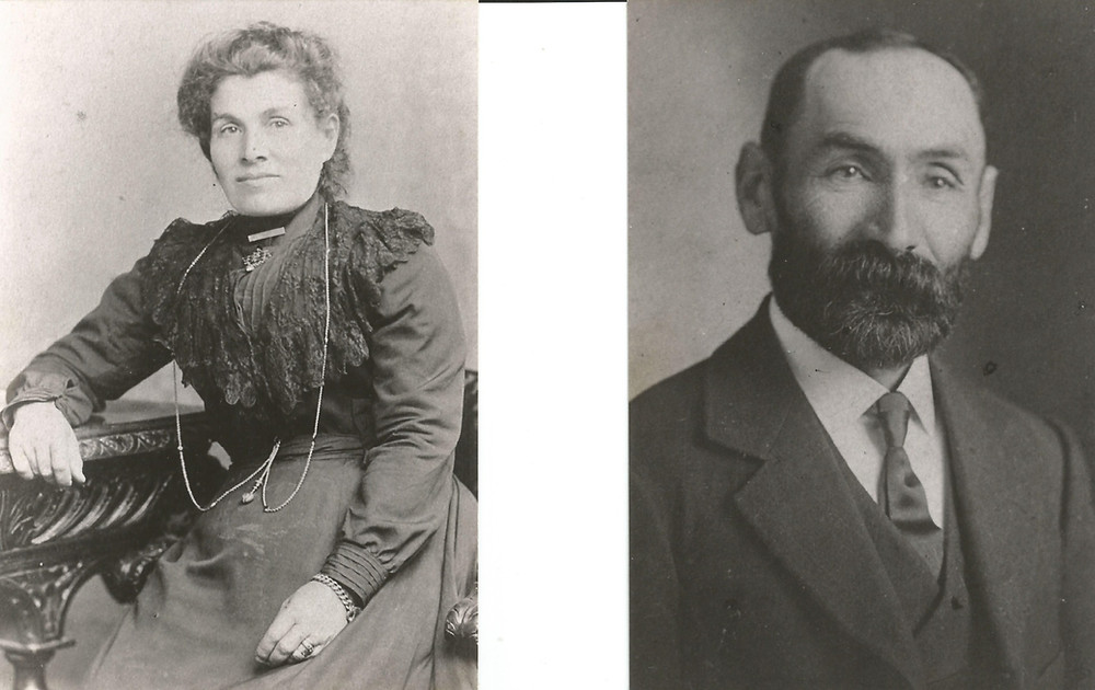 Black and shite phots of a woman (at left) and man (at right), taken around the turn of the century (19th to 20th).