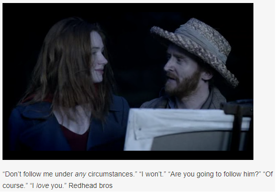 Amy Pond, played by Karen Gillan, is admired by Vincent van Gogh, played by Tony Curran