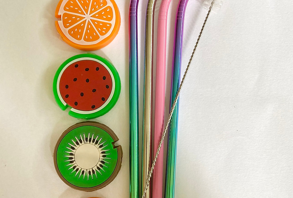 Stainless Steel Straws with a Silicone Tip, Cleaner & Pouch
