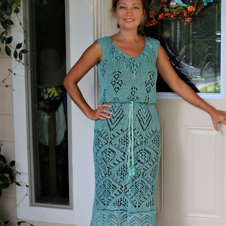 Beaded Shetland linen dress