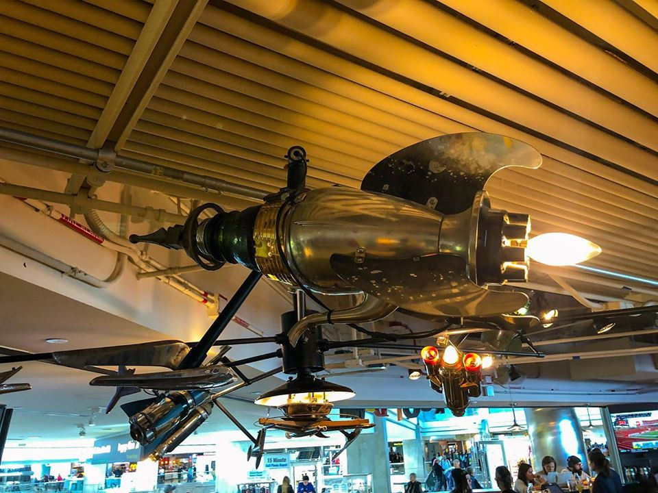 Rocket chandelier at Denver International Airport