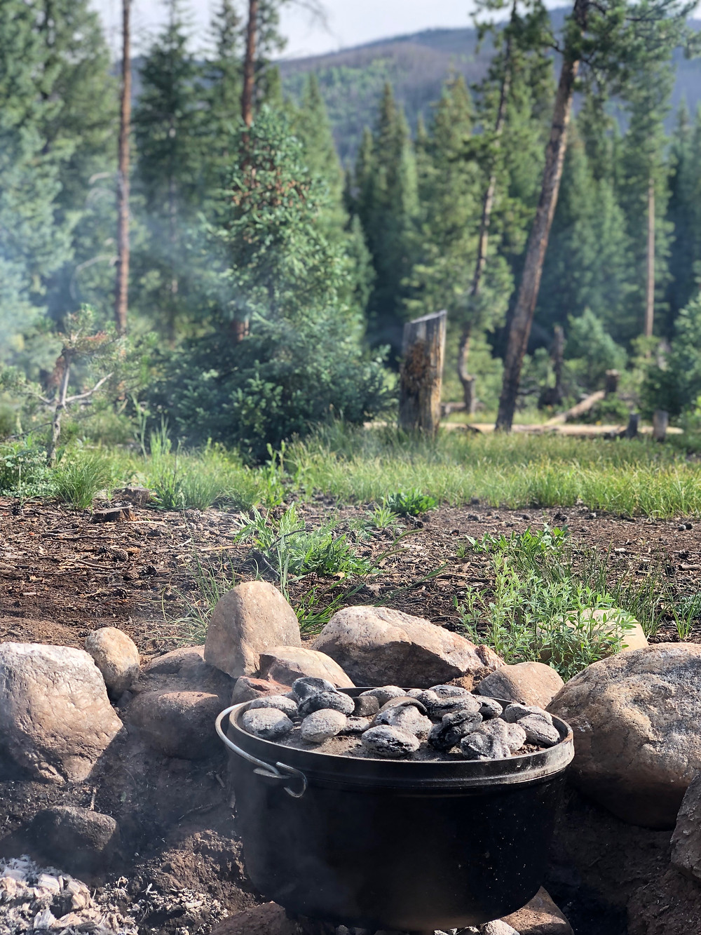Dutch oven while camping