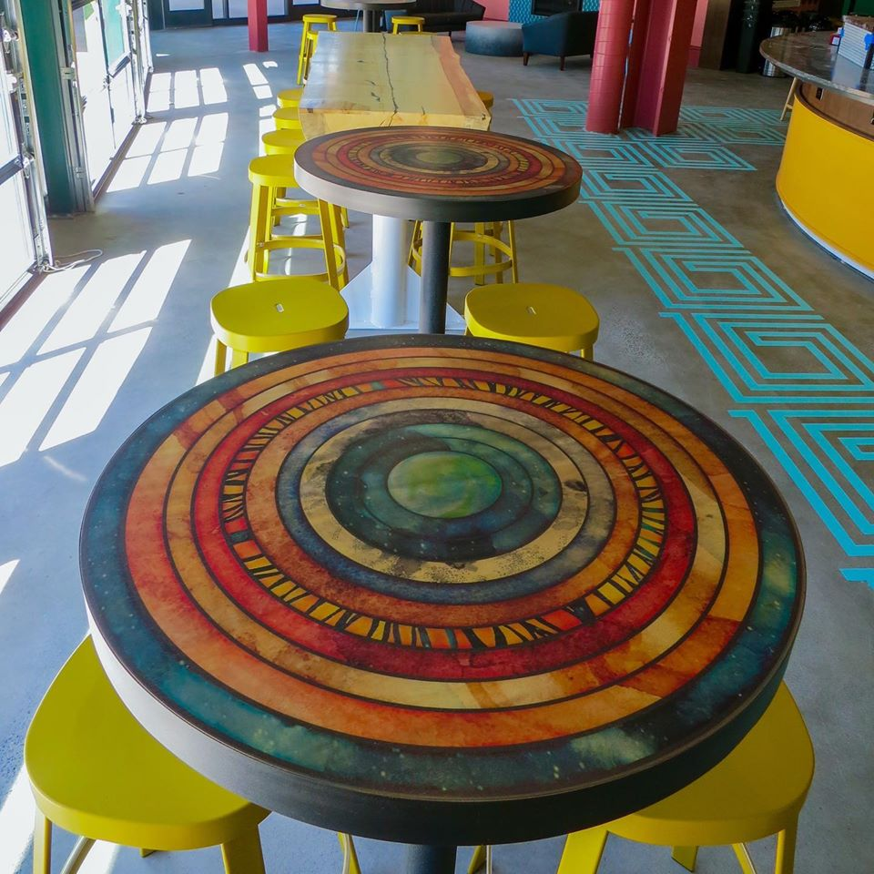 Art printed restaurant tables