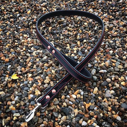 5' Black bridle dog leash