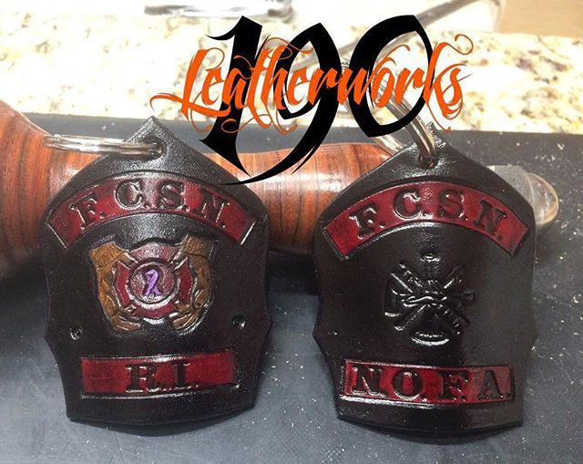 A small sample of our custom mini shield keychains. These were made for some reps from the Firefight
