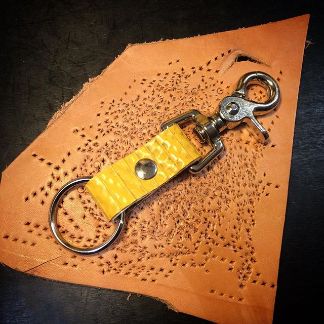 Recycled fire hose key fob with clip.jpg