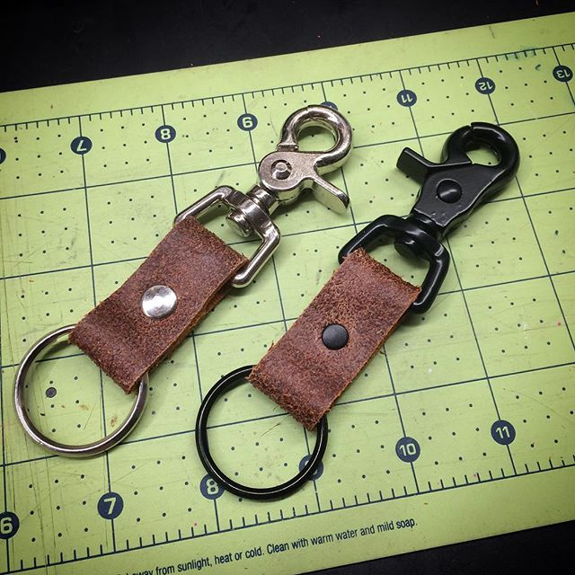 A cool texture on these _Finished Suede_ keychains ready for new homes. Your choice of nickel or bla