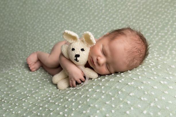 Newborn Baby with a Teddy