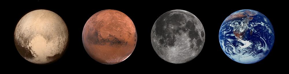 Pluto, Mars, Moon, Earth