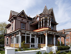 Beautiful colorful wooden Victorian styl