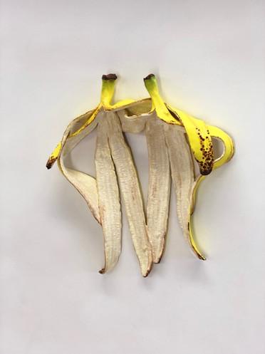 Best Friends Banana Sculpture en céramique peinte Oeuvre unique 20 X 15 cm