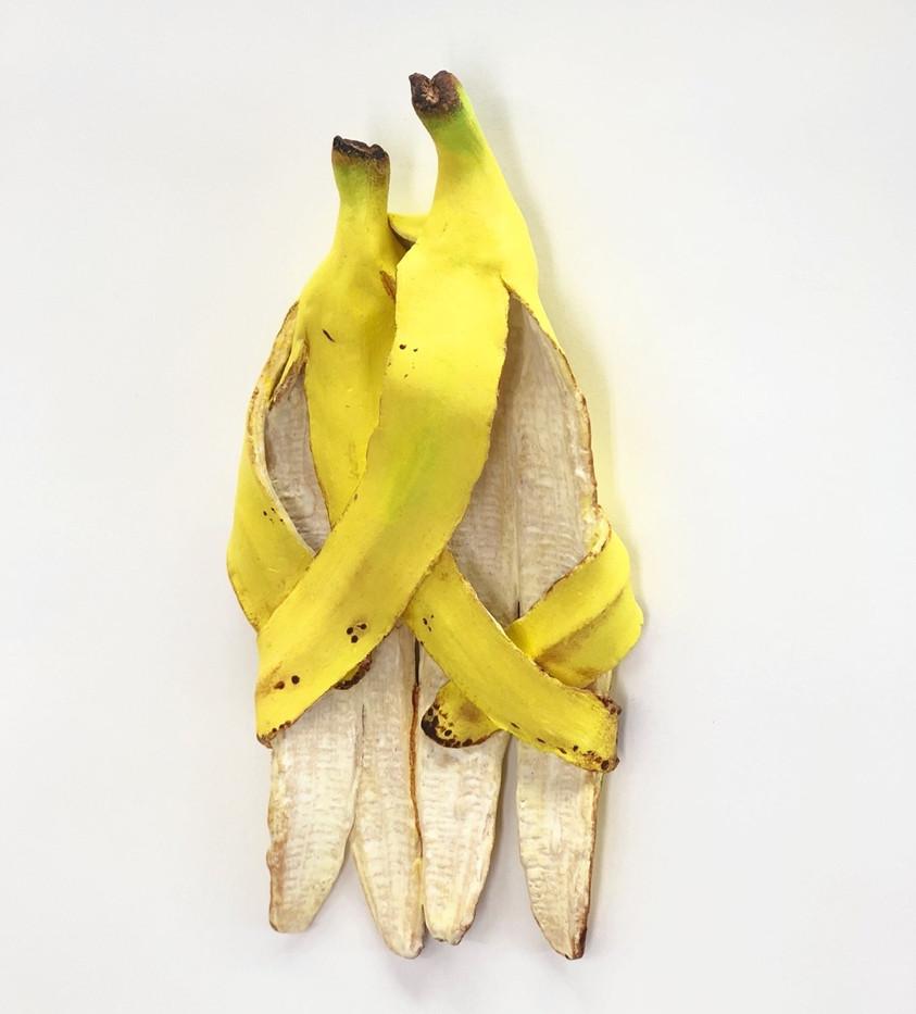 Love Banana Sculpture en céramique peinte Oeuvre unique 20 X 15 cm