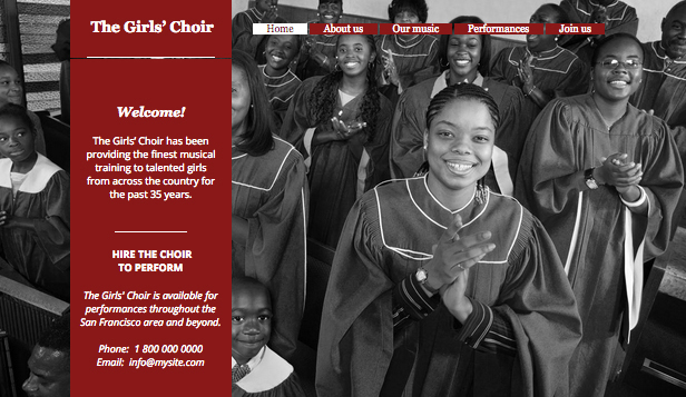 Religion & Non Profit website templates – The Girls' Choir