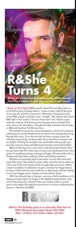 R & She - QX Interview April 2016