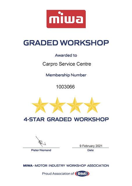 Grading Certificate - Carpro Service Cen