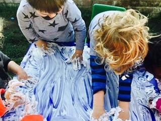 Getting messy in the foam!