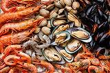 Mariscos shrims y almejas