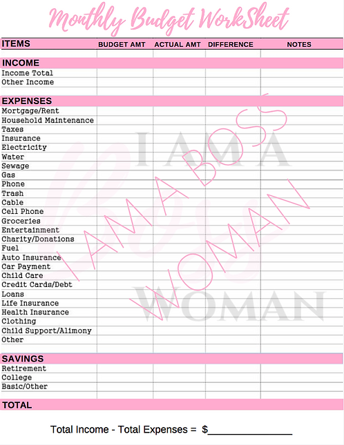 Monthly Budget Sheet