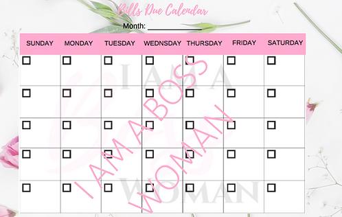 Bills Due Calendar