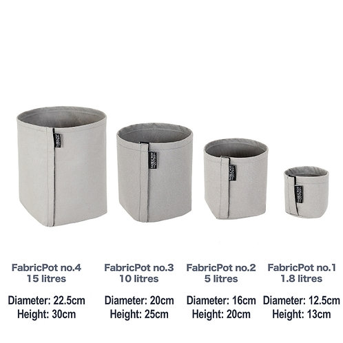 Fabric pot no.1 to no.4 Set | 1.8 - 15 litres | FabricPot