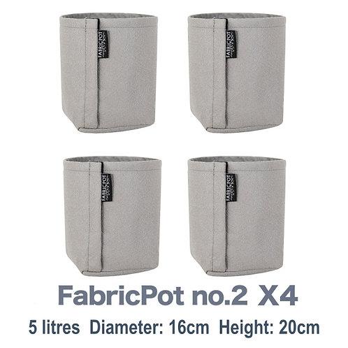 Fabric pot no.2 X4 Pack | 5 litres | FabricPot