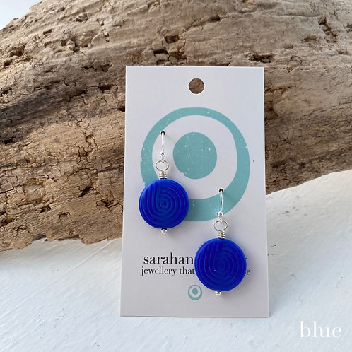 sterling silver glass circle earrings