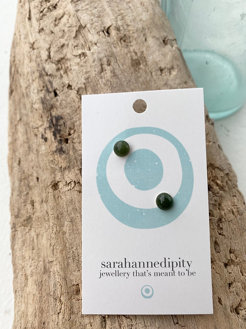 jade half sphere gemstone studs