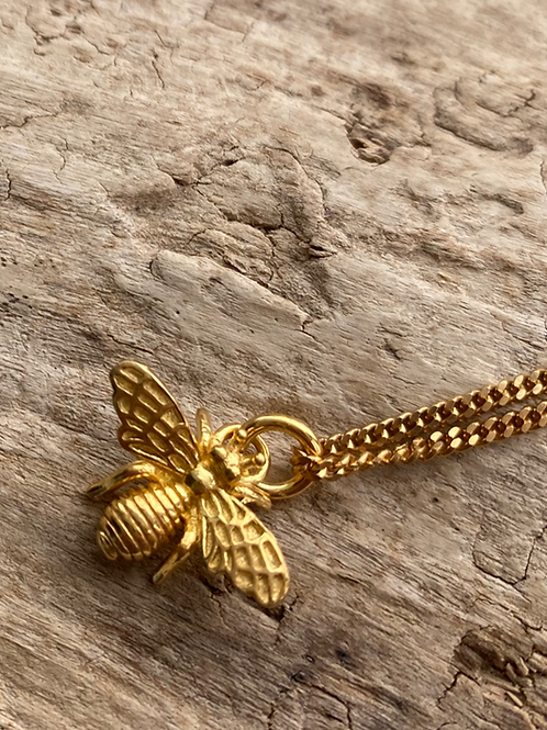 gold vermeil bee necklace