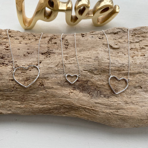 sterling silver heart inset necklace