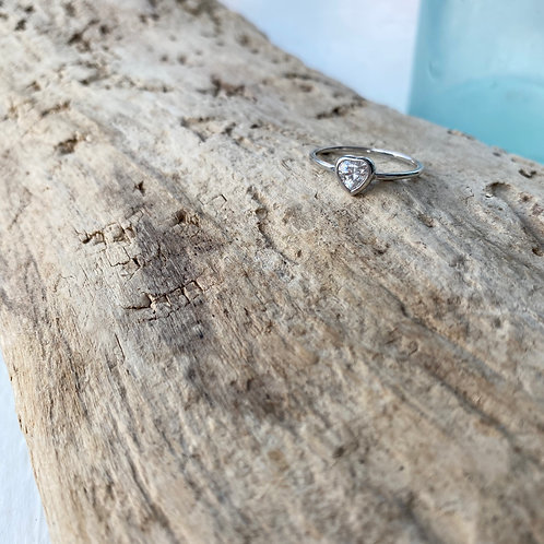 sterling silver thin heart stacker ring