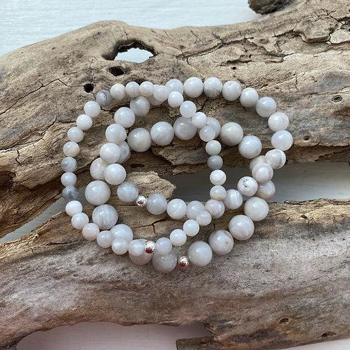 White Lace Agate Bracelet