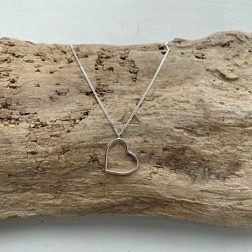 dangle sterling silver heart inset necklace