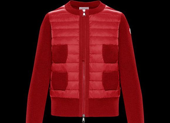 MONCLER CARDIGAN 紅色女用短版針織四口袋
