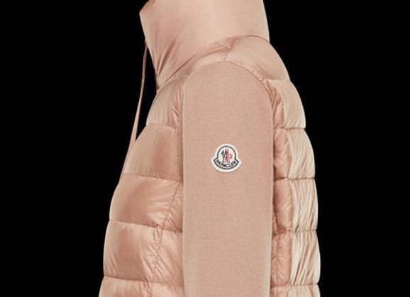 MONCLER PADDED CARDIGAN 粉色女用長版針織無口袋
