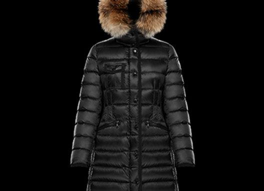 MONCLER HERMIFUR黑色女用厚款連帽羽毛長版羽絨外套
