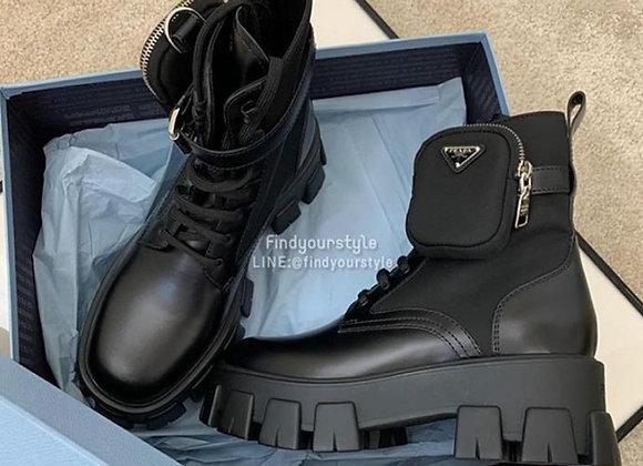 Prada Rois boots 口袋皮革短靴
