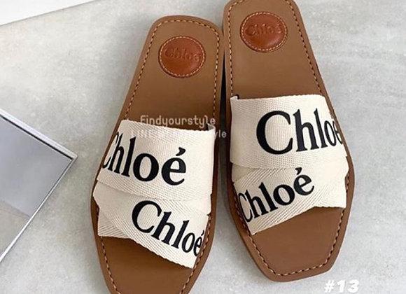 Chloe Woody  字母帆布拖鞋