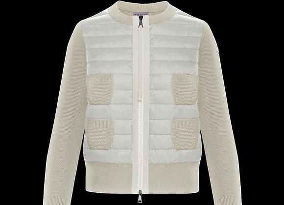 MONCLER CARDIGAN 白色女用短版針織四口袋