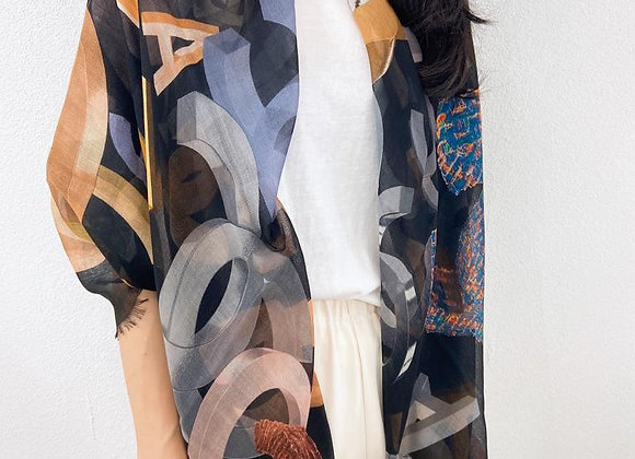Chanel彩繪雙C薄款圍巾(80% cashmere)規格 :135*140