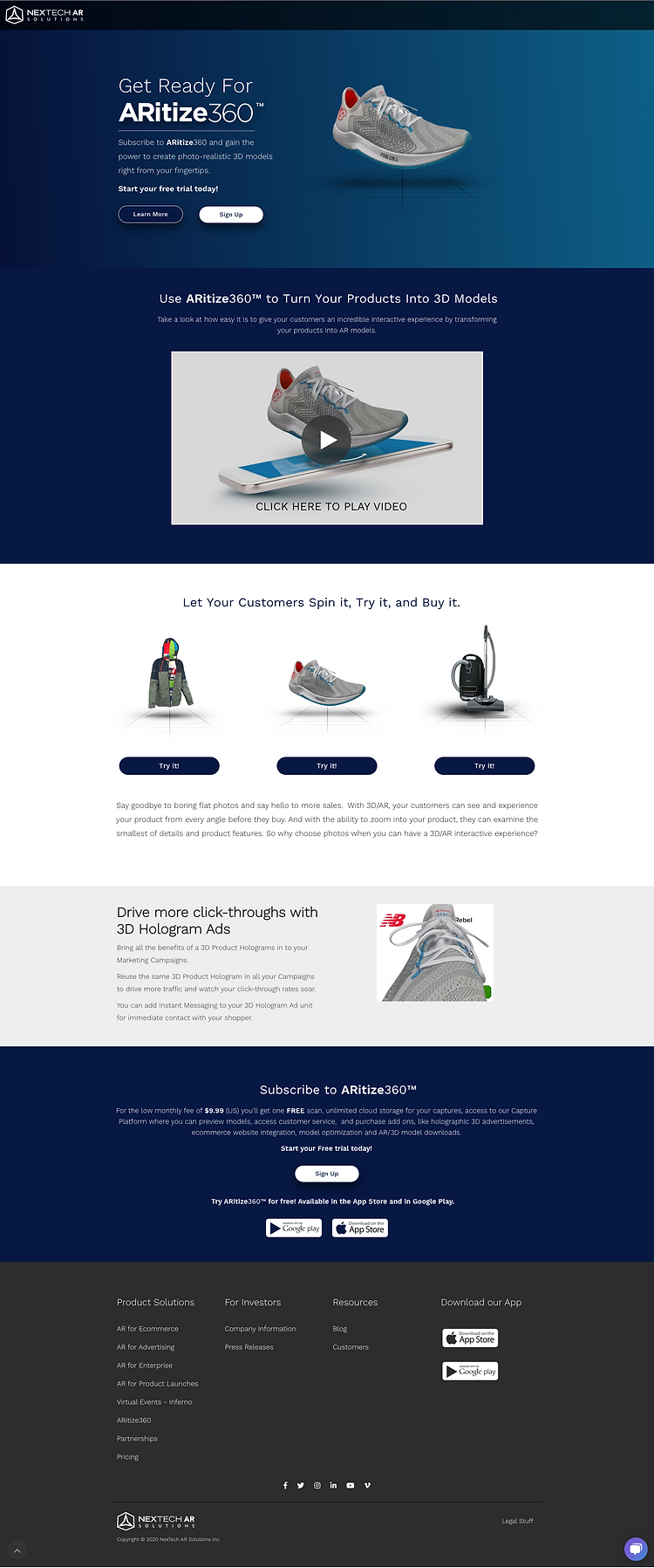ARitize marketing page with subscribe pricing.png